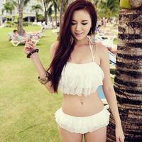 Free shipping Korean Bikini spa 2014 tube top design solid color steel women's sexy push up swimwear
