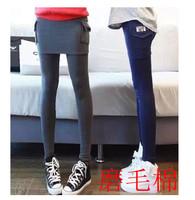 Spring and autumn sanded legging skirt faux two piece jumpsuit skirt belt slim high waist female