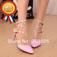 2014 Fashion  rivet pointed toe high-heeled shoes thin heels sandals color block decoration shoes hasp women  pumps