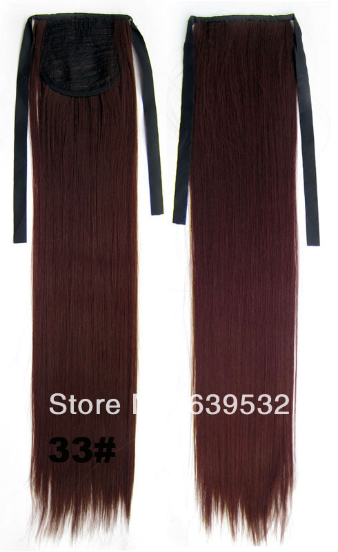Ribbon ponytail straight heat resistance synthetic fibre hairpieces,Drawstring Ponytail Extension Ponytail Wig 33# Pony tail(China (Mainland))