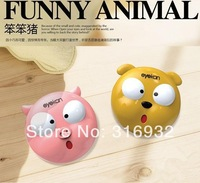 Kawaii round shape pig shaped plastic cartoon contact lenses color  case / lens Companion container box  FREE SHIPPING