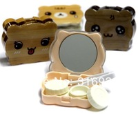 Kawaii cute teddy bear shaped plastic cartoon contact lenses color  case / lens Companion container box  FREE SHIPPING