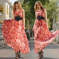 2014 Summer New Chiffon Print Floral O-neck Skater A-Line Sleeveless Tank  Sashes Casual Women's Fashion Full Dress