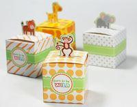 Free shipping Top quality 50pcs/lot Giraffe/elephant/monkey/tiger animals Baby Shower favors,Birthday Party Boxes, wedding box