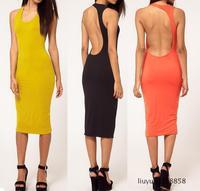 2014 women dresses sexy yellow orange black backless tank celebrity bodycon dress sundresses night club wear party basic dress