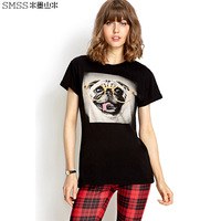 black o-neck cartoon animal dog print short-sleeve slim T-shirt