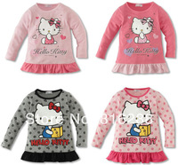 Girls tshirt spring hello kitty t-shirt long sleeve children dot t-shirts pink grey children's clothing 2014 new fashion