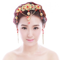 Colour bride hair accessory elixir of love red chinese style wedding dress hair accessory show clothing cheongsam pratensis