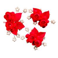 Colour bride th322 red white flower hair accessory stubbiness married hair accessory accessories wedding accessories