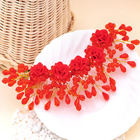Colour bride accessories polymer clay flower handmade crystal chinese style red married hair accessory hair accessory formal