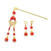 Butterfly red beads set hair stick earrings the bride hair accessory the bride hair stick accessories