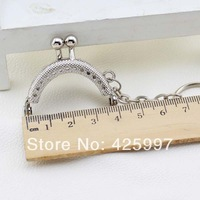 20pcs Cute 4CM Silver Metal Purse Hasp Frame handle with key chain for bag sewing craft,Tailor Sewer, Freeshipping