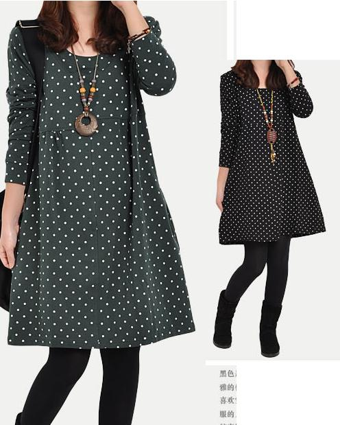 Novel Free shipping spring Novel new women's casual dress code relaxed big wave point long-sleeved winter dress stitching tide(China (Mainland))