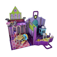 Free shipping new 3D puzzle model house Monster High High School Playset Monster High doll house furniture gift set girl toys
