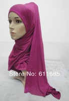 S527a new style cotton jersey long scarf,muslim long scarf with rhinestones