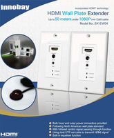 HDMI over UTP Cables (Cat 5E/ 6) Repeater Extender Wall Plate with IR Remote Control 50M 1080P Supported