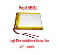 Lithium  Li-polymer rechargeable Battery Li-Po 505060 3.7v 1500 mAh for MP5/GPS/ NAV/PSP/MID/reader/powerbank