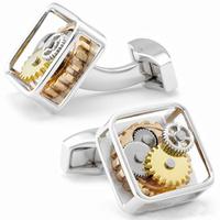Gift for Men, Silver Gear Square Cufflinks OP1025