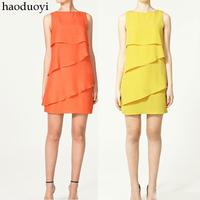 2014 NEW European fashion Layered dress ,plus size S -- XXXL cascading ruffle chiffon dress ,candy princess dress
