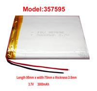 Lithium Li-polymer rechargeable Battery Li-Po 357595 3.7v 3000 mAh for GPS/ NAV/PSP/MID/Mobile Power/Tablet PC free shipping