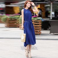 2014 summer new bohemian dress,beach dress solid color large lotus leaf collar chiffon dress  quality free shipping