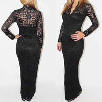 Spring 2014 new European lace dress sexy v-neck long-sleeved hollow out trumpet package hip Dresses for women