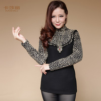 Pullovers Free Shipping 2014 New Women's Spring/Winter New Arrival Warm Velvet Turtleneck Long-sleeve Shirt Leopard