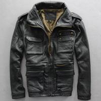 2014 Autumn winter Men's clothing loose plus size plus size leather jacket male sheepskin genuine leather outerwear Y2P0 TP3