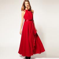 2014 New Summer Long Dress Fashion Strapless Vintage Ankle Party Dresses Women Chiffon Sleeveless Sashes Maxi Dress