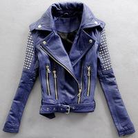 2014 women's rivet motorcycle slim leather jacket women's sheepskin genuine leather clothing outerwear P5