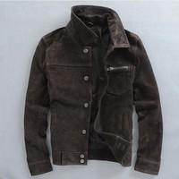 2014 new spring slim vintage retro finishing leather jacket male short design nubuck cowhide genuine leather clothing Y2P0 TP