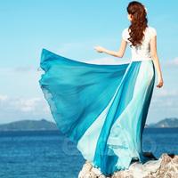 Free shipping 2014 large expansion bottom chiffon double colorant patchwork bohemia chiffon full skirt
