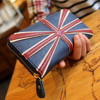 2014 New Fashion European And American Women Long Design British Flag British Style Retro Zipper Wallets Vinage Purses