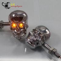 2x Universal Motorcycle Skull Head Turn Signal Indicators Lights New