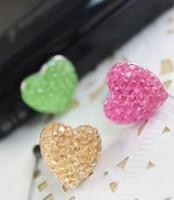 wholesale 100pcs/lot kpop hot selling 3.5mm anti dust plug The crystal heart  earphone jack plug