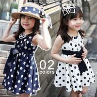 dot bandeaus bow Free shipping 1pcs retail 3~11age cotton woven navy/white cute knee length princess casual girl dress,X845