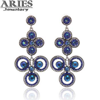 оптовая и розничная 2014 новая мода сплава ретро стиле панк искусственных алмазов синий кулон серьги для женщины a-d90