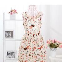 Free Shipping New summer Fashion Women's Clothing Print Casual preppy Style Sundress Mini geometric Dress retro silk WithoutBel