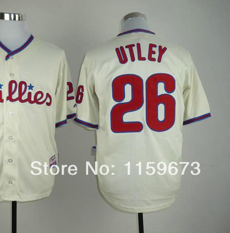 Hot Sale Men's American Baseball Jersey #26 Chase Utley Cool Base Baseball Jerseys All Stitched Sewn On Size 48 to 56(China (Mainland))