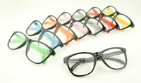 wholesale Popular design Double color block decoration plain mirror non-mainstream glasses 8825  5pcs free shipping