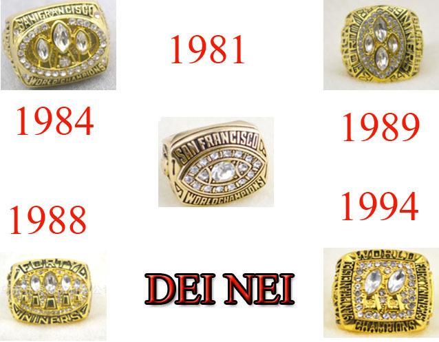 nfl 1981 1984 1988 1989 1994 alle San Francisco 49 ERS Super Bowl nachbau meisterschaft ringe uns größe 11 zum verkauf