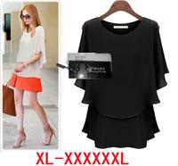 women blouse XL- XXXL 4XL 5XL new fashion 2014 plus size summer clothing Loose Casual chiffon shirt sheer blouses & shirts xxxxl