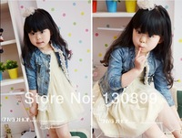 1 Piece Retail new spring baby girls fashion lace denim jacket / coat children outwear clothes , jeans coat ,outerwear