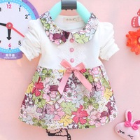 2014 new children's clothing girl's Spring autumn clothes Long sleeve cotton printing baby girl dress Wholesale lot