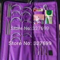 Aluminum Knitting Needle Kits Straight Needles Ring Needles Set Circular Needlework Crochet Hooks Set Hand Tool PU bag