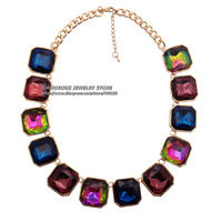 NEW 2014 fashion necklace Unique Crystal chunky choker necklace & pendant collar bib Necklace statement women jewelry wholesale