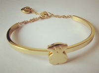 New Arrived Fashion Jewelry 18K Gold Plated 316L Stainless Steel Litter Bear With Heart Charm Women's Bracelet Bangle, Good Gift