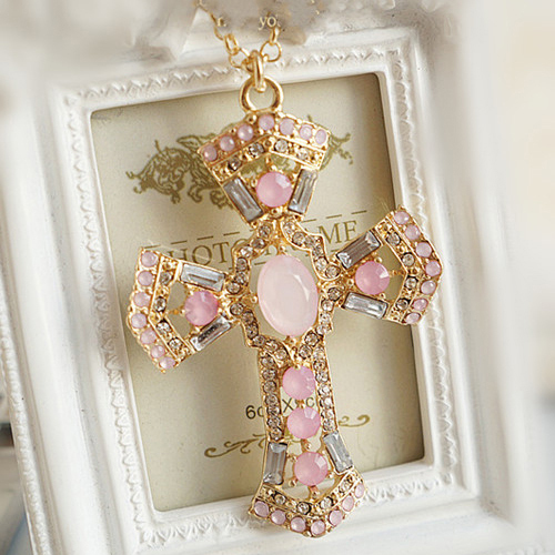 Min 10 super deals hot selling Sweet lovely pink crystal cross pendant necklace for women