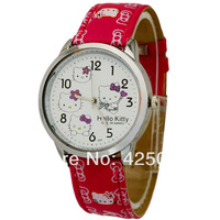 Free shipping wholesale sale  Retail Hello Kitty watches women Quartz watch Shiny PU Strap watch Lovely style