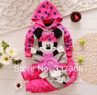 4 set/lot  Baby Suits Pink 3D Mickey Sweater + pants 2piece Set Mouse Design Children Suits Sport suits Hoodie Pants Set